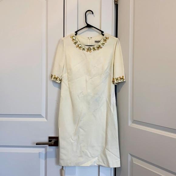 LIKE NEW: White mid-length embellished dress
